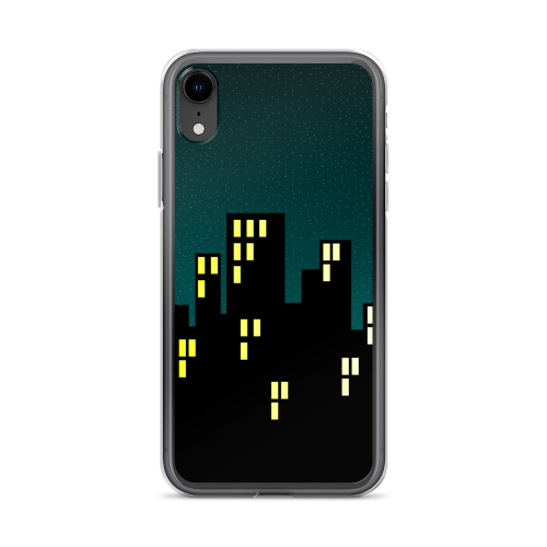 Illustration of a city skyline at night time on an iphone case