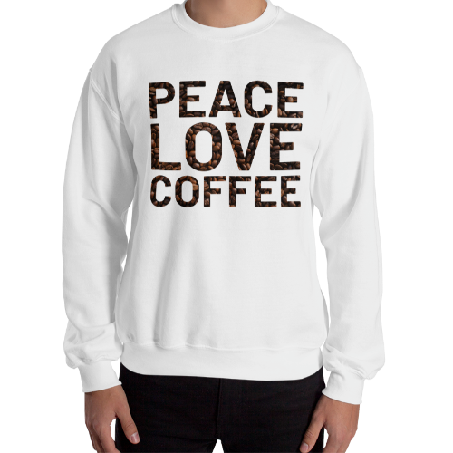 Peace and love on coffee bean background on a short sleeved women's sweatshirt