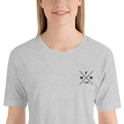 Emblem with London and Worse For Wear logo on a light coloured women's top