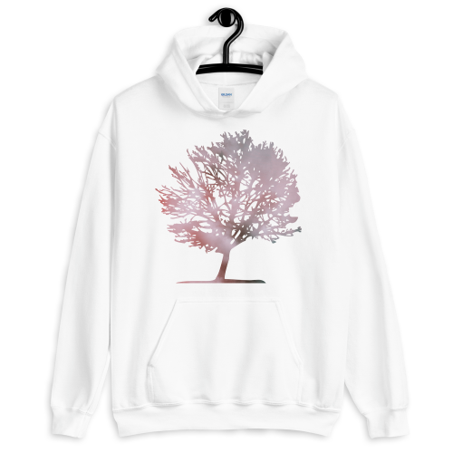 Pink colour graphic of a tree on a men's hoodie