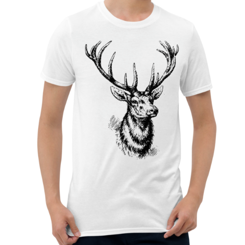Graphic design of a silver sketched style deer on a men's t-shirt