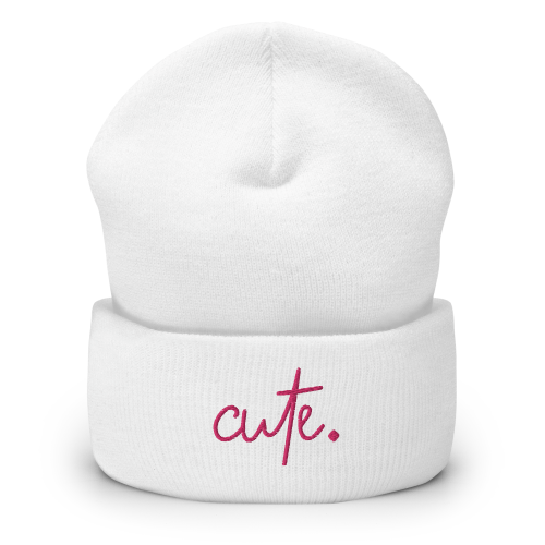 Cute styled text on a beanie hat