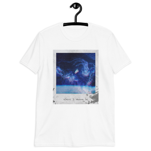 Illustrated astronaut floating through space on a men's t-shirt
