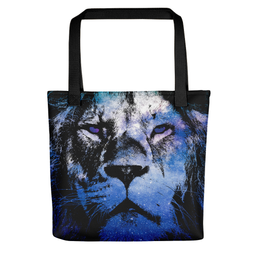 Tote bag with illustration showing the outline of a lion filled in with a galaxy star