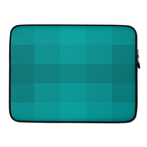 A pattern of different blocks in various shades of blue on a laptop sleeve