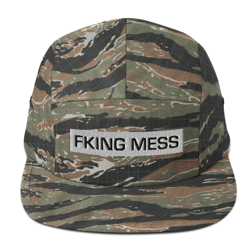 Fking Mess text design on a five panel snapback cap