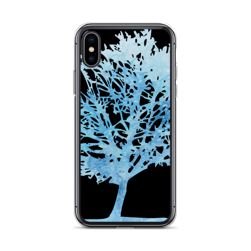 Ice blue colour graphic of a tree on a iphone case