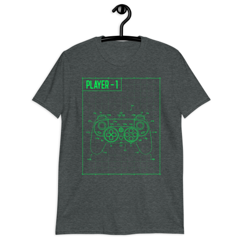 The blueprints of a gaming controller printed on a women's top
