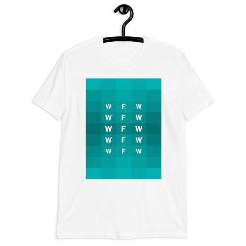 A pattern of different blocks in various shades of blue on a men's t-shirt