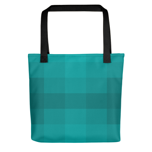 A pattern of different blocks in various shades of blue on a tote bag