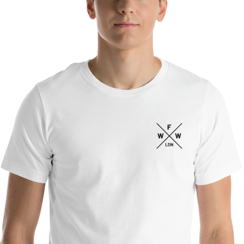 Emblem with London and Worse For Wear logo on a light coloured men's t-shirt