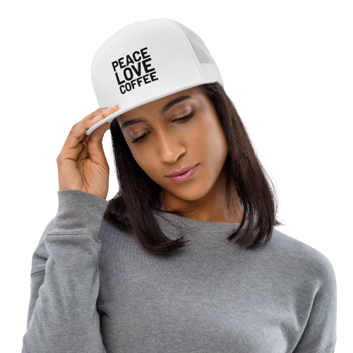 Peace and love on coffee bean background on a trucker style snapback cap