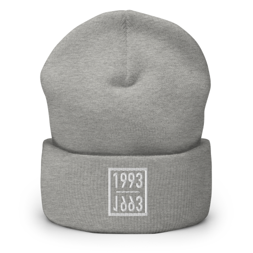 Representing the year 1993 on a cuffed beanie hat