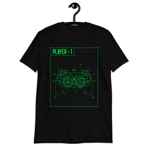The blueprints of a gaming controller printed on a men's t-shirt