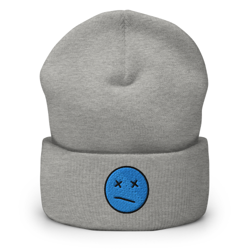 Meh face design called Sketch on a cuffed beanie hat