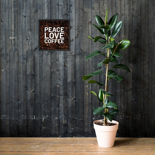 Peace and love on coffee bean background on a framed poster