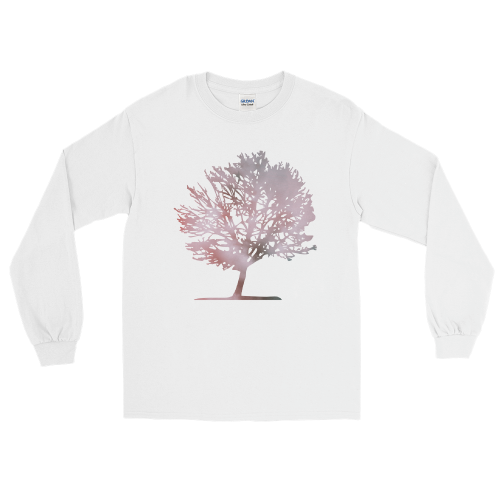 Pink colour graphic of a tree on a men's long sleeve t-shirt