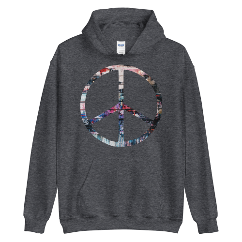 Colourful peace symbol on a men's hoodie