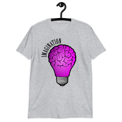 Imaginative illustration of a brain inside a bulb on a women's top