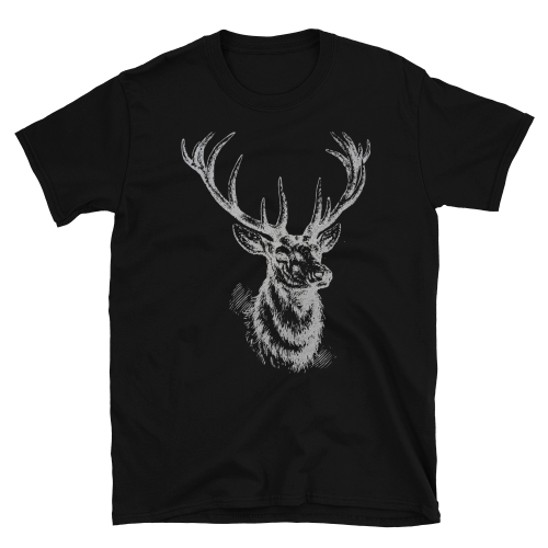 Graphic design of a black sketched style deer on a men's t-shirt
