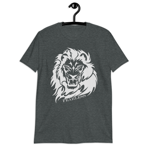 Illustration of a lion with the caption fearless on a men's grey t-shirt
