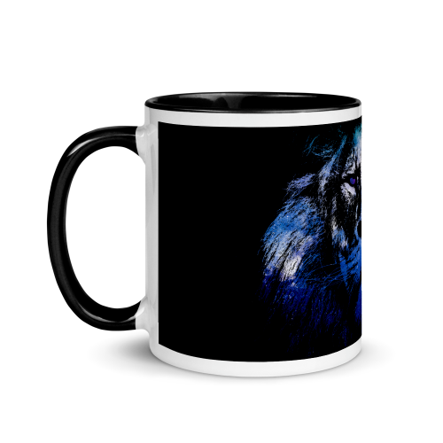 Ceramic mug with illustration showing the outline of a lion filled in with a galaxy star