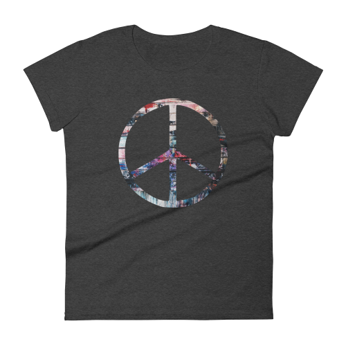 Colourful peace symbol on a women's fashion fit t-shirt