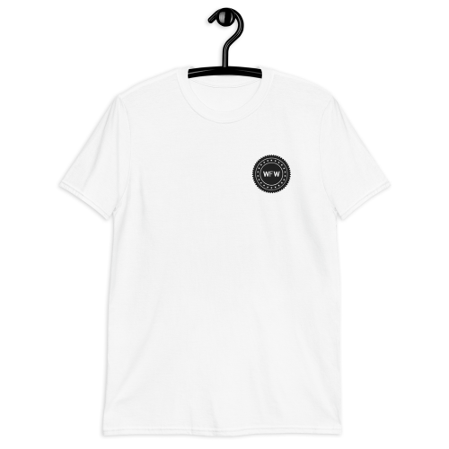 Circular emblem with alternative Worse For Wear Clothing logo and stars on a light coloured women's top