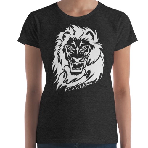 Illustration of a lion with the caption fearless on a women's fashion fit top