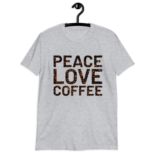Peace and love on coffee bean background on a short sleeved women's top