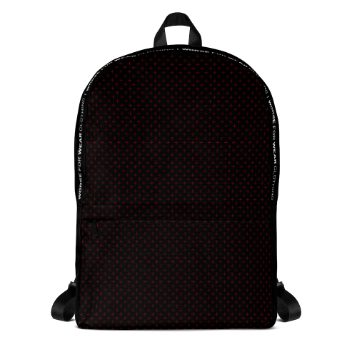 Red star style dots on a black backpack