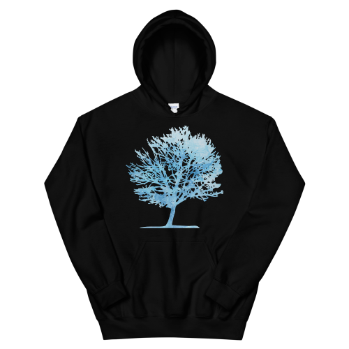 Ice blue colour graphic of a tree on a men's hoodie