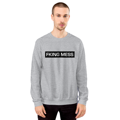Fking Mess text design embroidered on a men's jumper