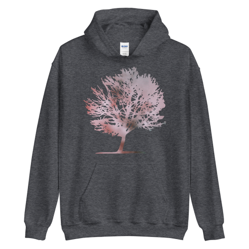 Pink colour graphic of a tree on a women's hoodie