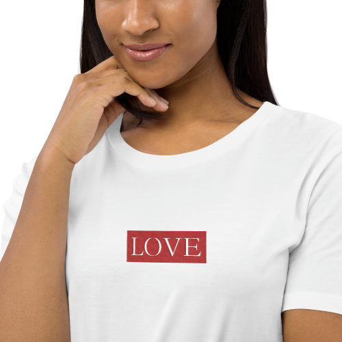 Text saying love embroidered on a women's t-shirt style dress