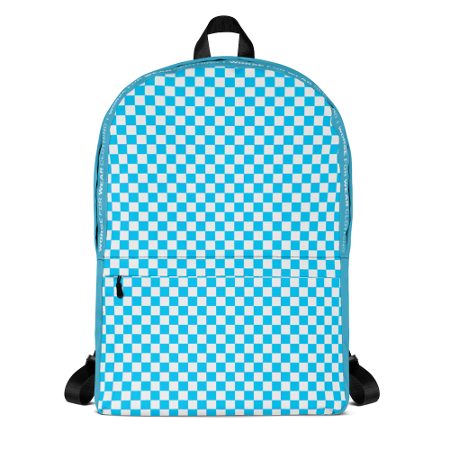 Blue and white checkered design on a backpack bag