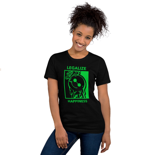 Illustrated smiley face enjoying 420 on a women's top