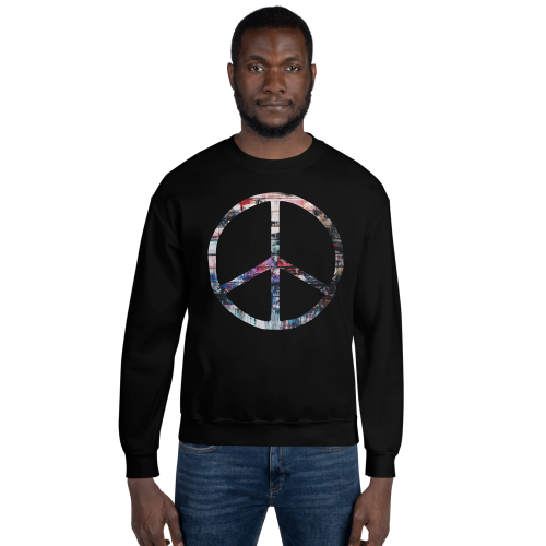 Colourful peace symbol on a men's jumper
