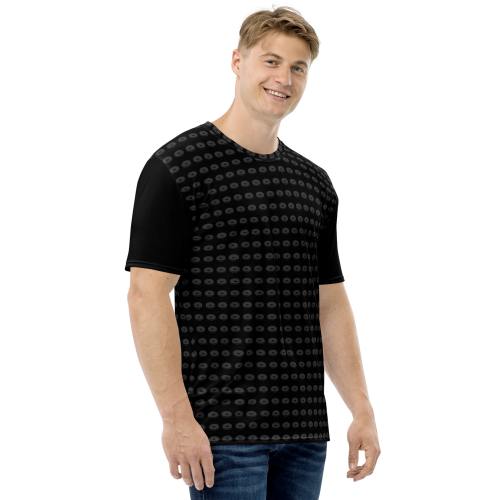 A pattern made of illustrated donuts on a premium print men's t-shirt