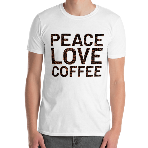 Peace and love on coffee bean background on a short sleeved men's t-shirt