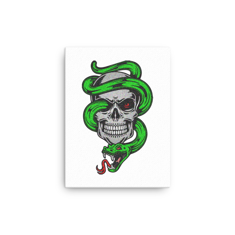 Green snake wrapped around skull canvas wall art