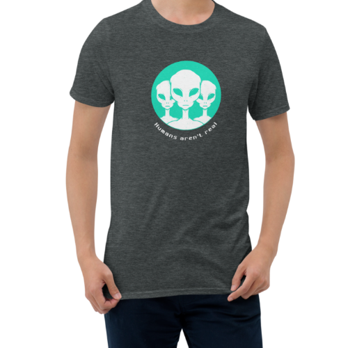 Design of aliens judging if humans are real on a men's t-shirt