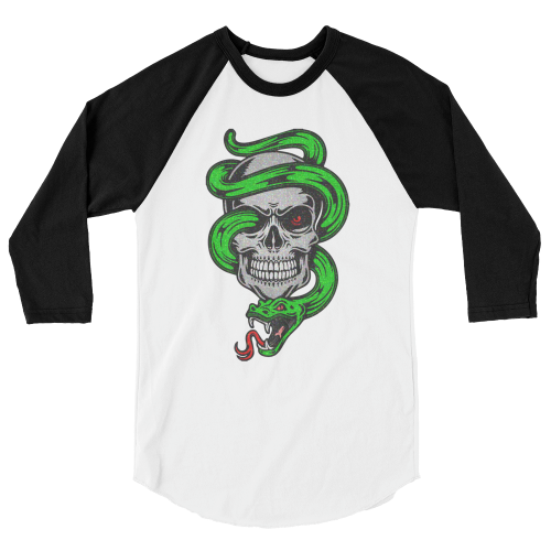 Tattoo style design of a green snake coming out of a skull on a 3/4 length sleeve men's t-shirt