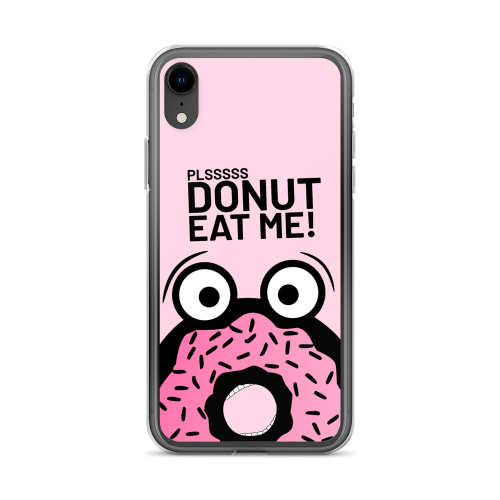 Design of pink cartoon donut man in fear of being eaten on a iphone case