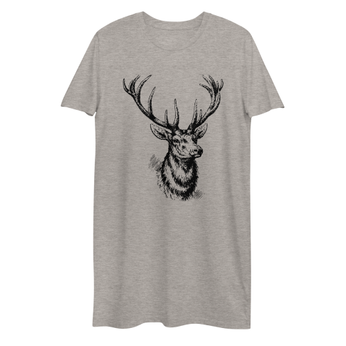 Graphic design of a black sketched style deer on a women's t-shirt dress