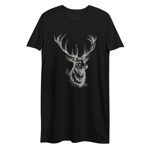 Graphic design of a silver sketched style deer on a women's t-shirt dress