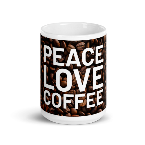 Peace and love on coffee bean background on a ceramic mug