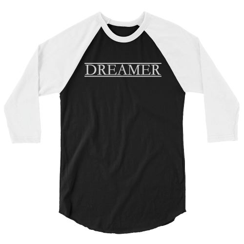 Cool text saying 'dreamer' on a 3/4 sleeve women's top