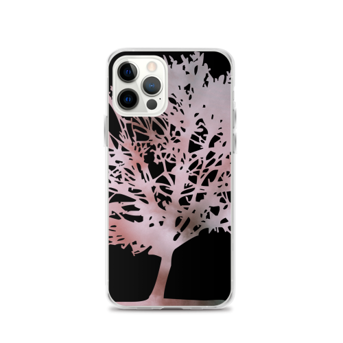 Pink colour graphic of a tree on a iphone case
