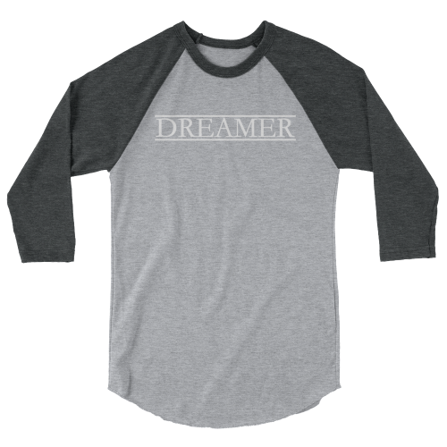 Cool text saying 'dreamer' on a 3/4 sleeve men's t-shirt